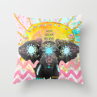 Wish, Dream, Believe. Throw Pillow by Sara Eshak