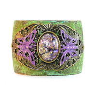 Verdigris Filigree Purple Butterfly Etched Cuff Bracelet