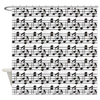 Black Notes on White Background Shower Curtain> Catch All Shower Curtains> Shower Curtains