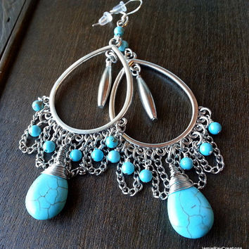 Turquoise Howlite Bohemian Chandelier Earrings with Silver Tone Chain and Component - Gypsy Boho Earrings - Blue Earrings - Bohemian Earring