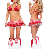 Striped with Lace Accent Halter Top and Mini Skirt Christmas Costume