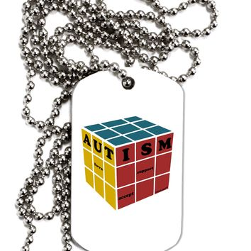 Autism Awareness - Cube Color Adult Dog Tag Chain Necklace by TooLoud
