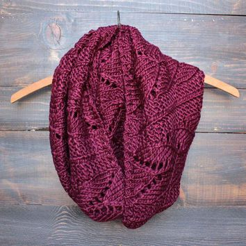 LMFNU2 knit leaf pattern infinity scarf (more colors)