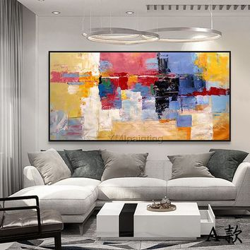 Abstract painting blue yellow color painting on canvas art huge size acrylic Painting Wall Art Pictures for living room home decor caudros