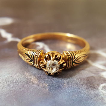 Antique Engagement Ring | Victorian Engagement Ring | Rose Gold Engagement Ring | Diamond Solitaire Old Mine Cut Victorian Enamel US Sz 6.25
