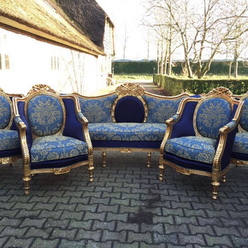 French Blue Settee Antique French Louis XVI 5 Piece Beregere Chair Fauteuil Wingback Sofa Gold Leaf Gild ReUpholster New Fabric Blue Damask