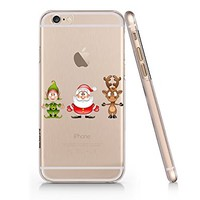 Cute Santa Claus And Reindeer Merry Christmas Slim Transparentt Iphone 6 6s Case, Clear Iphone Hard Cover Case For Apple Iphone 6 6s Emerishop (NLA159.6sl)