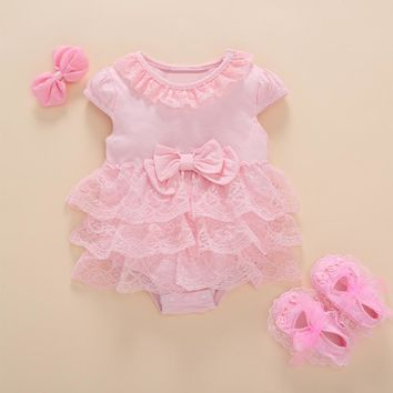 Princess Style Newborn Baby Dress Christening Summer Short White Ruffle Lace Romper Party Dresses Baby Girl Clothes Dress 0-3