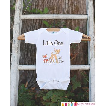 Woodland Onepiece Bodysuit - Little One Woodland Animals Bodysuit Makes a Great Baby Shower Gift for a New Baby Boy - Gender Neutral Newborn