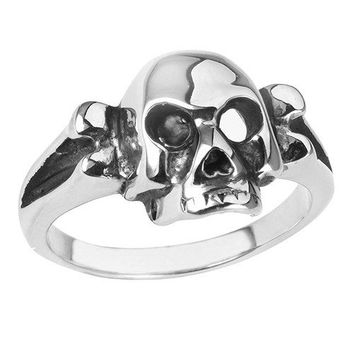 Stainless Steel Skull Ring With Bone / Jawless (027)