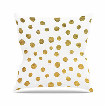 "Nika Martinez ""Golden Dots"" White Yellow Outdoor Throw Pillow"