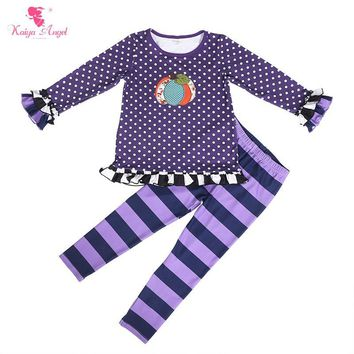 Kaiya Angel Hot Sales Toddler Girls Halloween Clothing Set Pumpkin Print Dot Ruched Tops Striped Trousers Girls Boutique Outfits