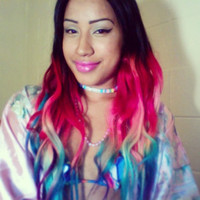 Rainbow Ombre Hair Extensions. Colored Hair Extension Clip, Hair Wefts, Clip in Hair, Dip Dyed Hair Tips