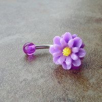 Lilac Purple Daisy Flower Belly Button Jewelry
