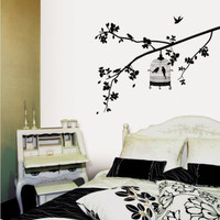 Parisian Spring  Bird in Tree Silhouette Wall Decal at AllPosters.com