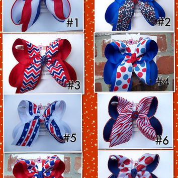 LARGE 2 Layer Patriotic July 4 Print Red White Blue Ribbon Hair Bow Karens Creations