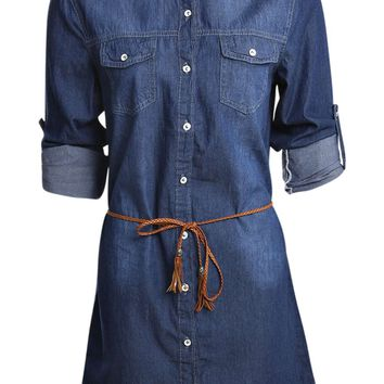 Bethany Belted Denim Tunic Dress