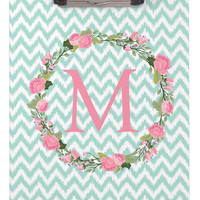 Clipboard Dry Erase Board - Garden party initial and Ikat Chevron