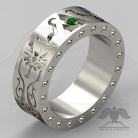 SHIELD Band - Green stone - Legend trillion triangle Hyrule Crest ring - custommade handmade ***Made to Order - 120 - Michael M Jewelry