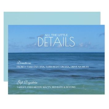 Tropical Beach Wedding details/reception CARD