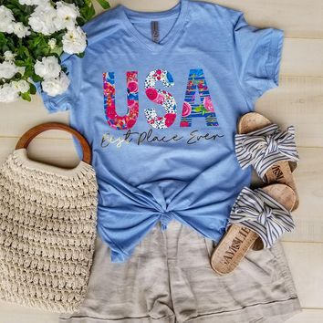USA Best Place Ever V-neck {Steel Quartz}