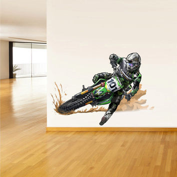 Full Color Wall Decal Mural Sticker Decor Art Dirt bike Moto Motorcycle Motocross Biker Dirty (col297)