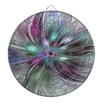 Colorful Fantasy, abstract and modern Fractal Art Dart Boards