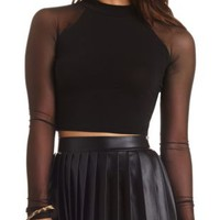 Mock Neck Raglan Mesh Sleeve Crop Top by Charlotte Russe - Black