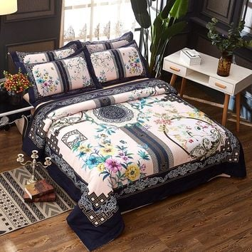 100% Cotton Chinese style Boho Bedding set Queen King size Duvet cover Bed sheet set Pillowcase