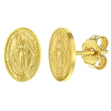 925 Sterling Silver Religious Miraculous Virgin Mary Oval Medal Stud Earrings for Ladies