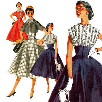 1950s Dress Pattern Bust 30 Unuct Simplicity 1006 Evening Cocktail Dress High Fitted Midriff & Bolero Jacket Womens Vintage Sdewing Patterns