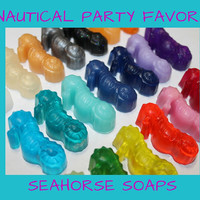 Seahorse Soap Favors - Nautical Sea or Beach Themed Bridal Shower or Destination Wedding Party Favors Guest Bath Custom Made | Pack of 25