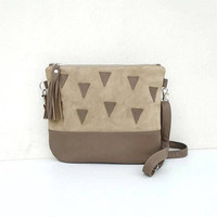 Beige leather and SUEDE bag, leather geometric crossbody bag, small shoulder leather bag, beige suede crossbody purse, leather triangles