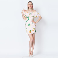 Pineapple Printed Off Shoulder Ruffle Top Mini Dress