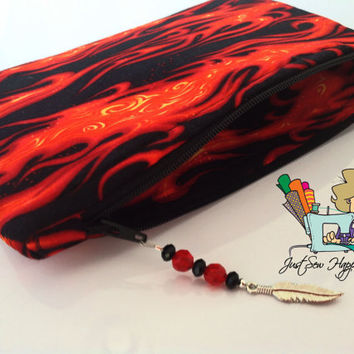 Flames Red & Black Makeup Bag with Beaded Zipper Pull Cosmetic Bag