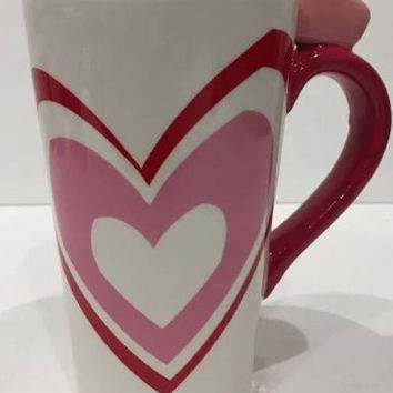 Valentine's MultiColor Mug Red Pink Hearts 2011 Target Tall Cup Heart on Handle