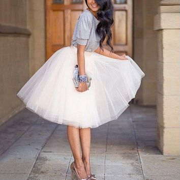 New Puff Fashion Women Girl Chiffon Tulle Skirt White Faldas High Waist Midi Knee Length Female Tutu Skirts CY2072