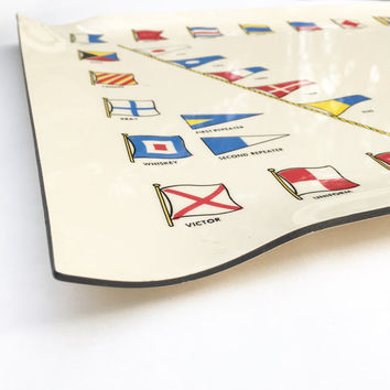 Mid century Tray Signal Flags Nautical Barware   Yachting classic