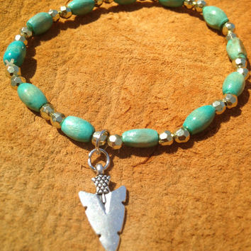 Arrowhead Charm Beaded Bracelet or Anklet (Turquoise & Gold Colored Beads) - Tribal Boho Style Jewelry