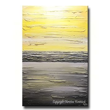 ORIGINAL Art  Abstract Painting Yellow Grey Modern Textured Coastal Wall Decor Contemporary