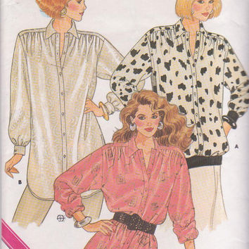 Vintage 1980s pattern for very loose fitting, button front top or tunic misses size Petite Small Medium 8-14 Butterick 5739 UNCUT