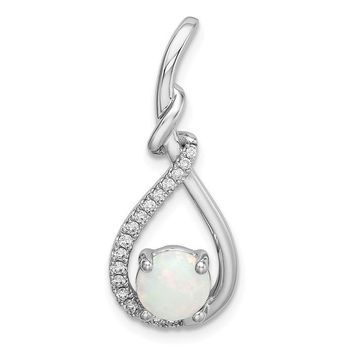 14k White Gold Genuine White Australian Opal Teardrop Diamond Pendant