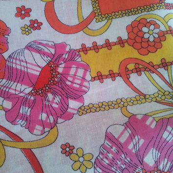Vintage Fabric. Bright Floral Design, circa 1970's.
