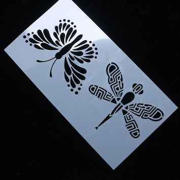 Butterfly Dragonfly Reusable Stencil Airbrush Painting Art Cake Spray Mold DIY Decor Crafts