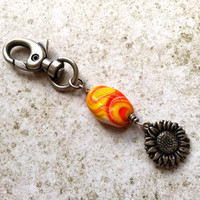 Sunflower Keychain Charm, Beaded Zipper Pull, Sunflower Accessory, Purse Charm, Stocking Stuffer, Zipper Charm, Sunflower Jewelry, Key Chain