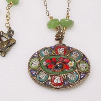 99 Vintage Mosaic Pendant, Jade beaded Necklace