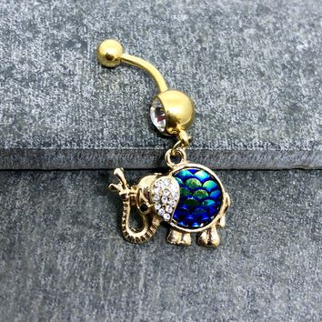 14 gauge Gold plated surgical stainless steel Elephant belly button navel ring
