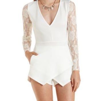 Ivory Lace Long Sleeve Envelope Romper by Charlotte Russe