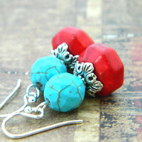 Red and Turquoise Earrings. Red Turquoise Boho Tribal Earrings. Sterling Silver Red Turquoise Earrings. Jewelry Earrings, Turquoise Jewelry