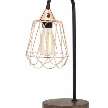Classic Tilton Copper and Wood Table Lamp
